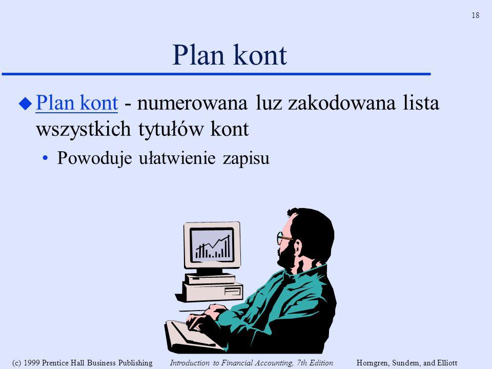 Plan kont Plan kont - numerowana luz zakodowana lista wszystkich tytułów kont.