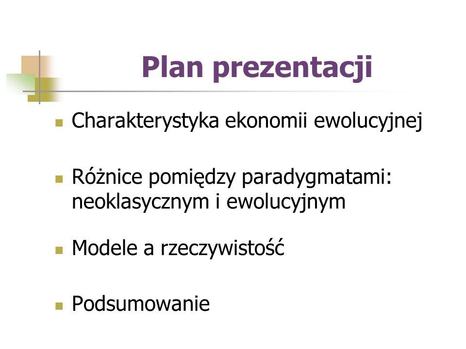 Plan prezentacji Charakterystyka ekonomii ewolucyjnej