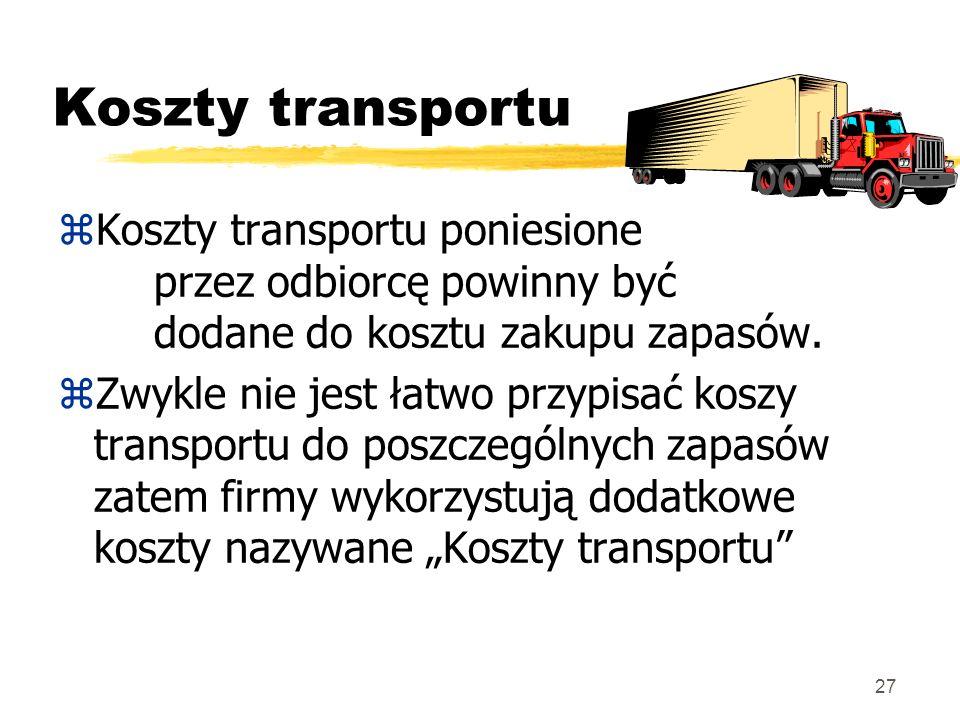 Koszty transportu Koszty transportu poniesione przez odbiorcę powinny być dodane do kosztu zakupu zapasów.