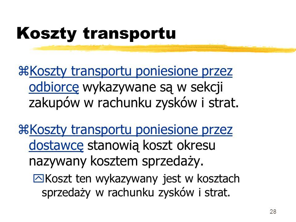 Koszty transportu Koszty transportu poniesione przez odbiorcę wykazywane są w sekcji zakupów w rachunku zysków i strat.