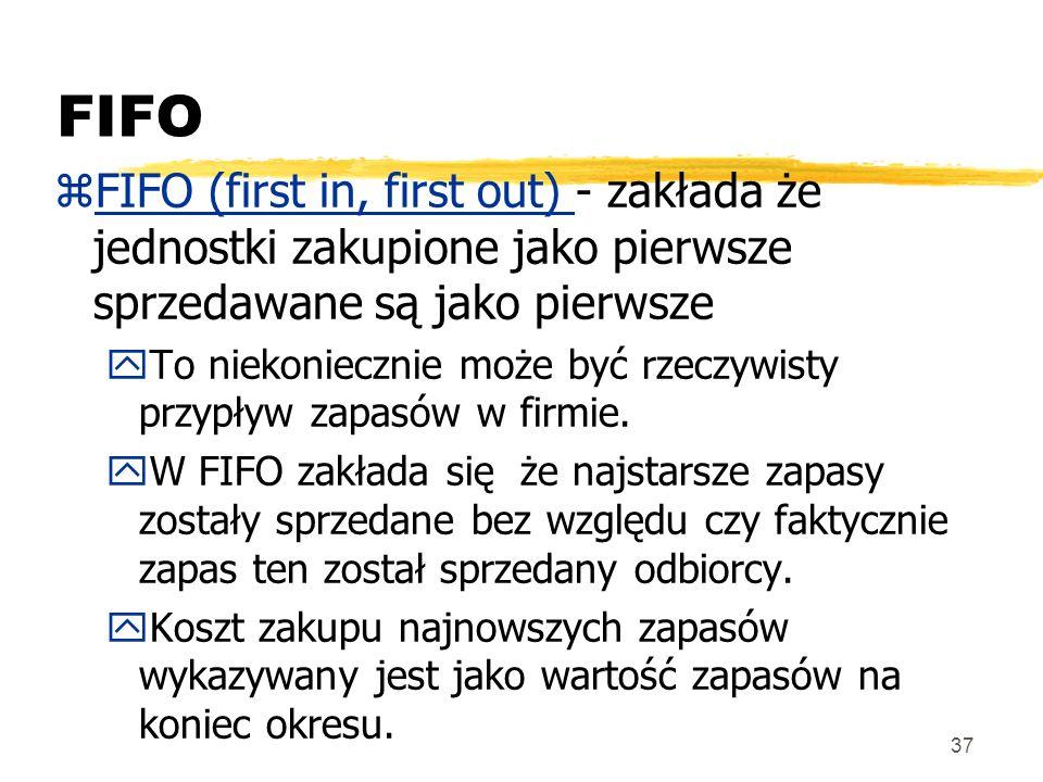 FIFO FIFO (first in, first out) - zakłada że jednostki zakupione jako pierwsze sprzedawane są jako pierwsze.