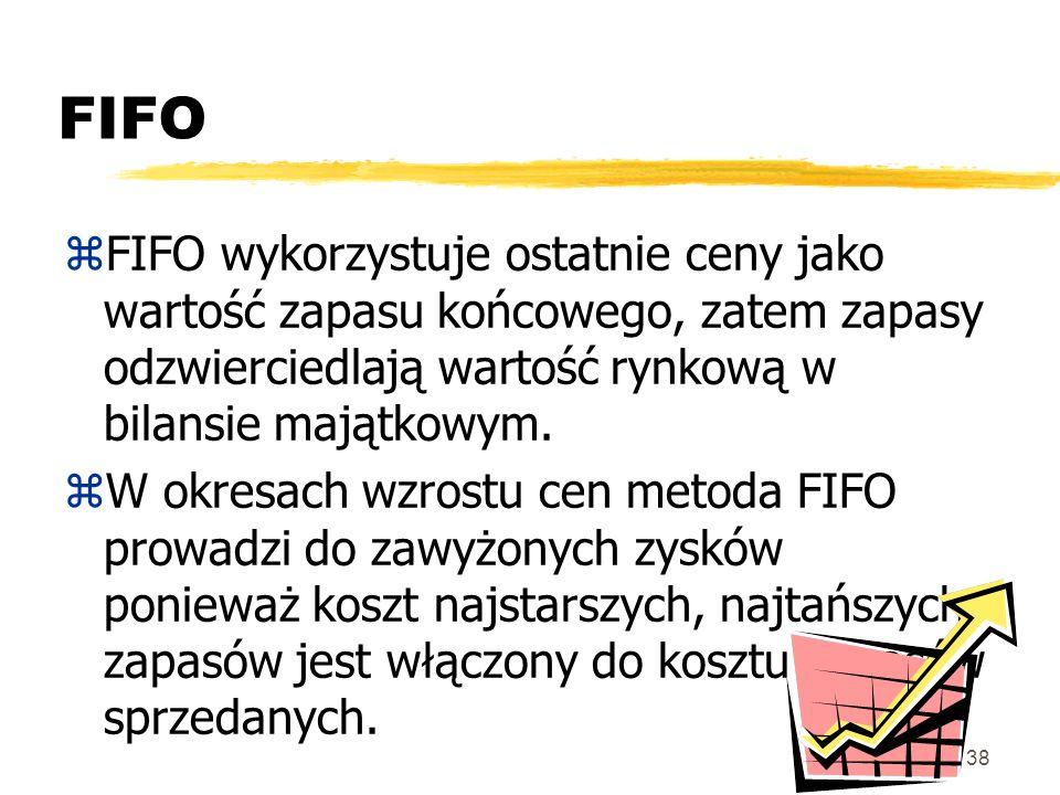 FIFO FIFO wykorzystuje ostatnie ceny jako wartość zapasu końcowego, zatem zapasy odzwierciedlają wartość rynkową w bilansie majątkowym.