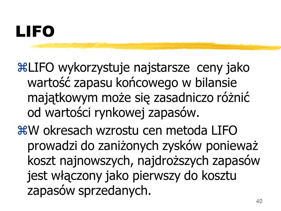 LIFO LIFO wykorzystuje najstarsze ceny jako wartość zapasu końcowego w bilansie majątkowym może się zasadniczo różnić od wartości rynkowej zapasów.