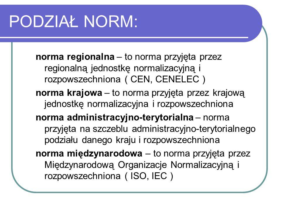 PODZIAŁ NORM:norma regionalna – to norma przyjęta przez regionalną jednostkę normalizacyjną i rozpowszechniona ( CEN, CENELEC )