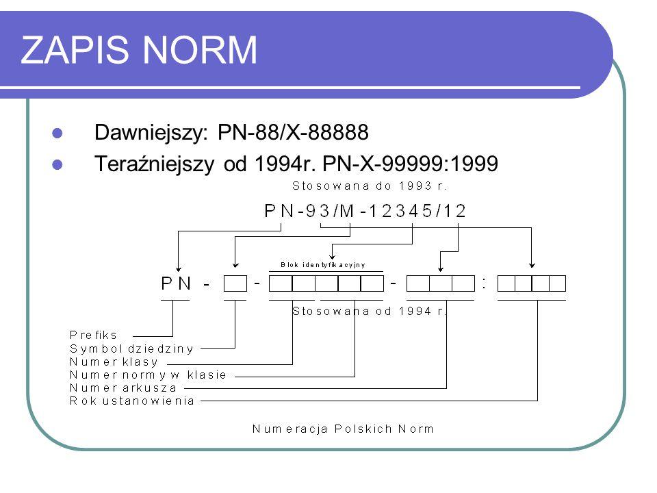 ZAPIS NORM Dawniejszy: PN-88/X-88888