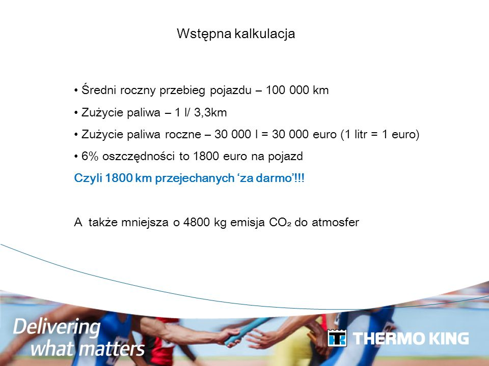Wstępna kalkulacja Średni roczny przebieg pojazdu – 100 000 km