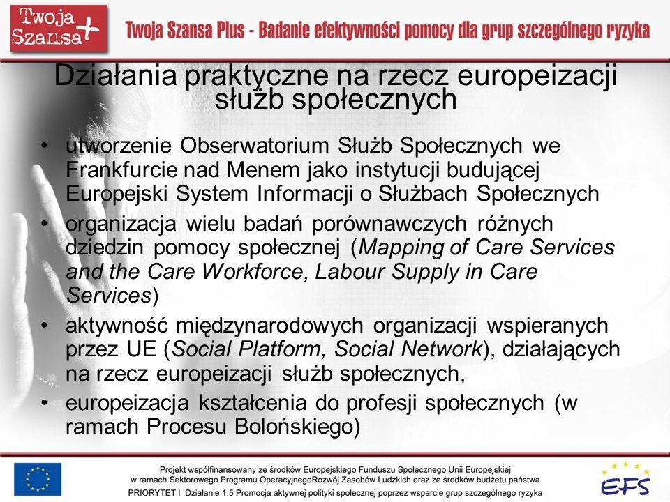 Działania praktyczne na rzecz europeizacji służb społecznych