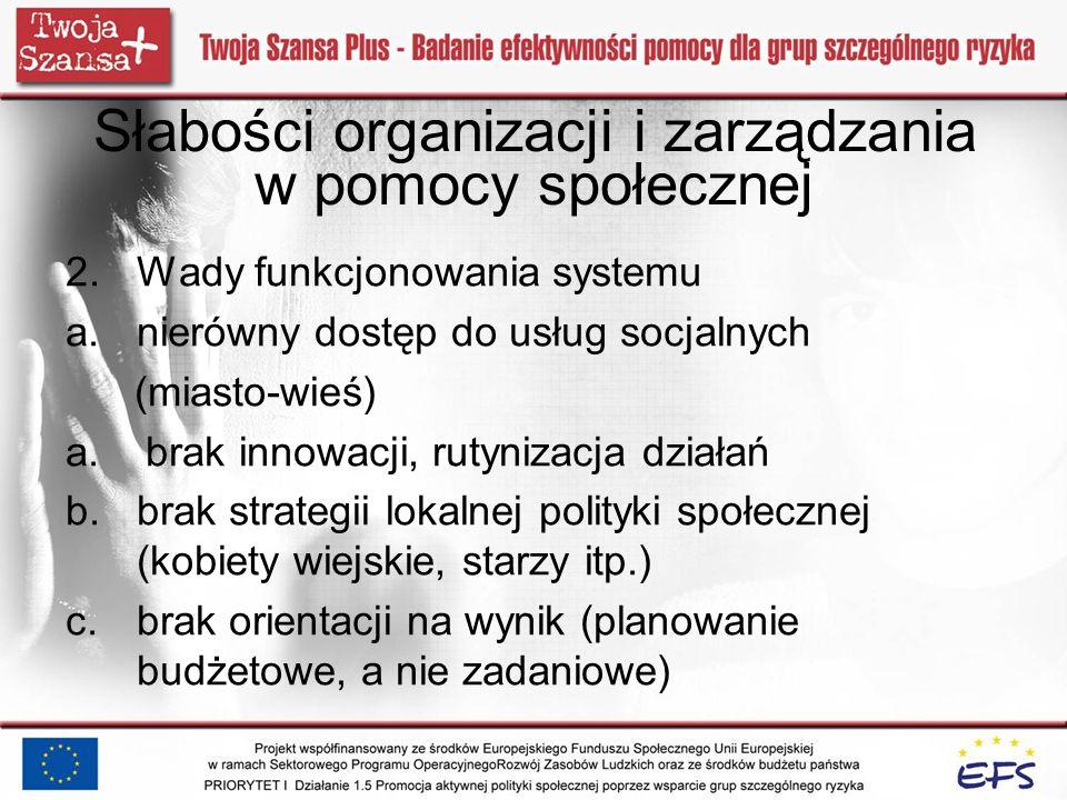 Słabości organizacji i zarządzania w pomocy społecznej