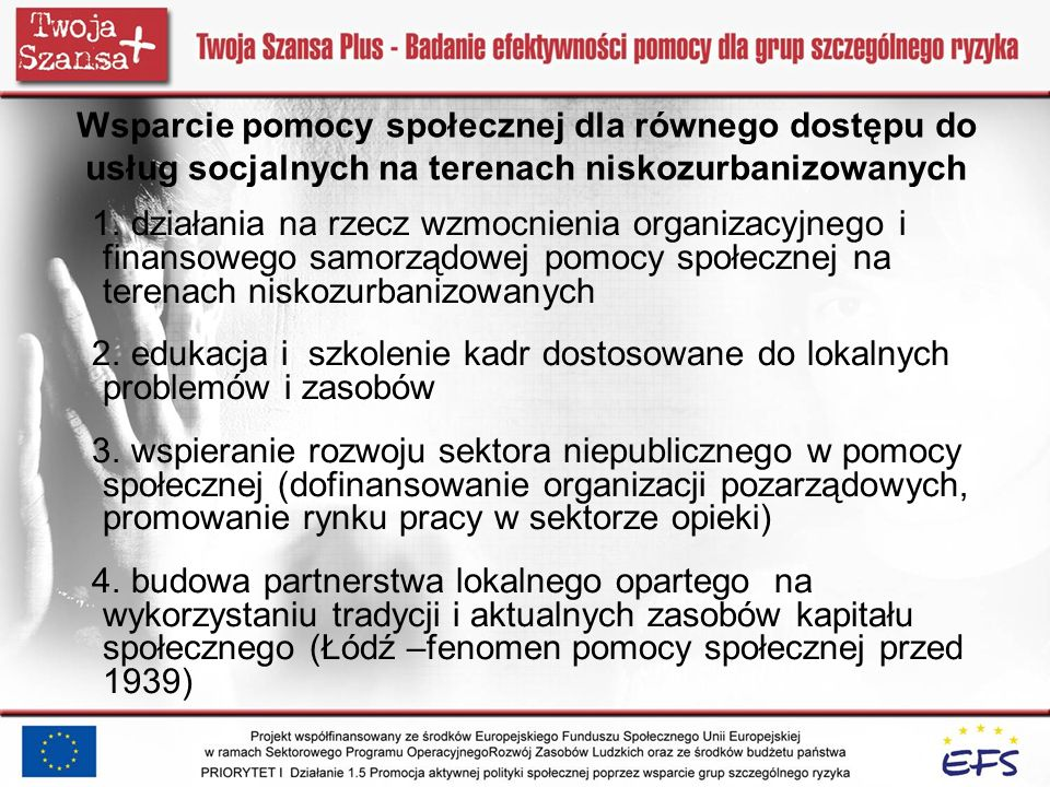 Wsparcie pomocy społecznej dla równego dostępu do usług socjalnych na terenach niskozurbanizowanych