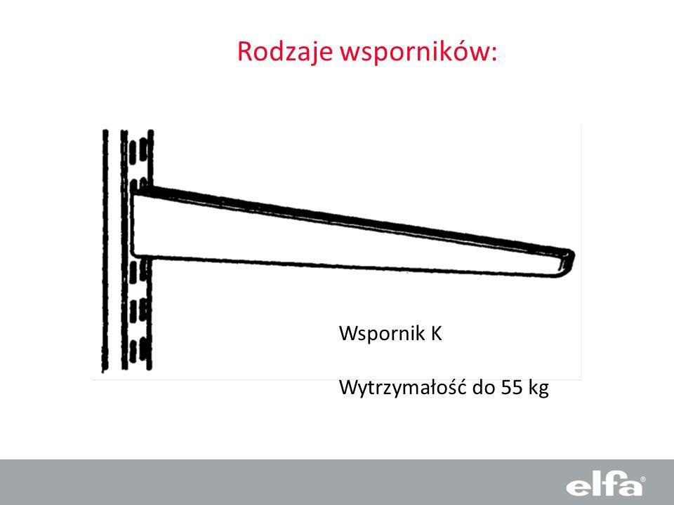 Rodzaje wsporników: Wspornik K Wytrzymałość do 55 kg