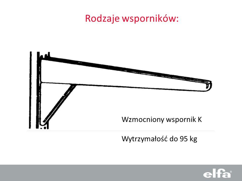Rodzaje wsporników: Wzmocniony wspornik K Wytrzymałość do 95 kg