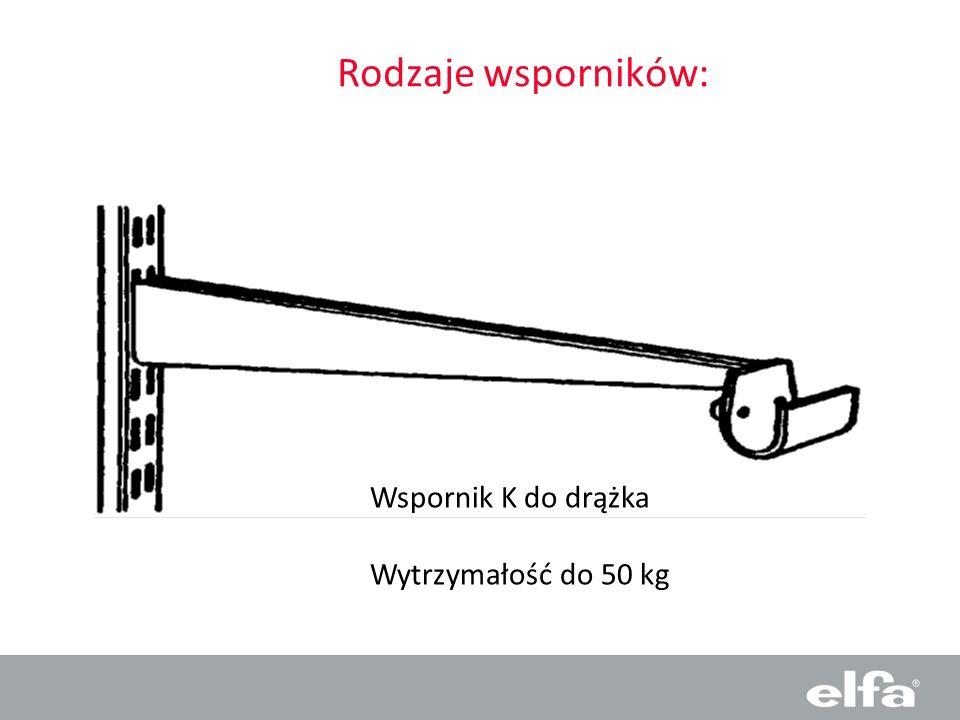 Rodzaje wsporników: Wspornik K do drążka Wytrzymałość do 50 kg