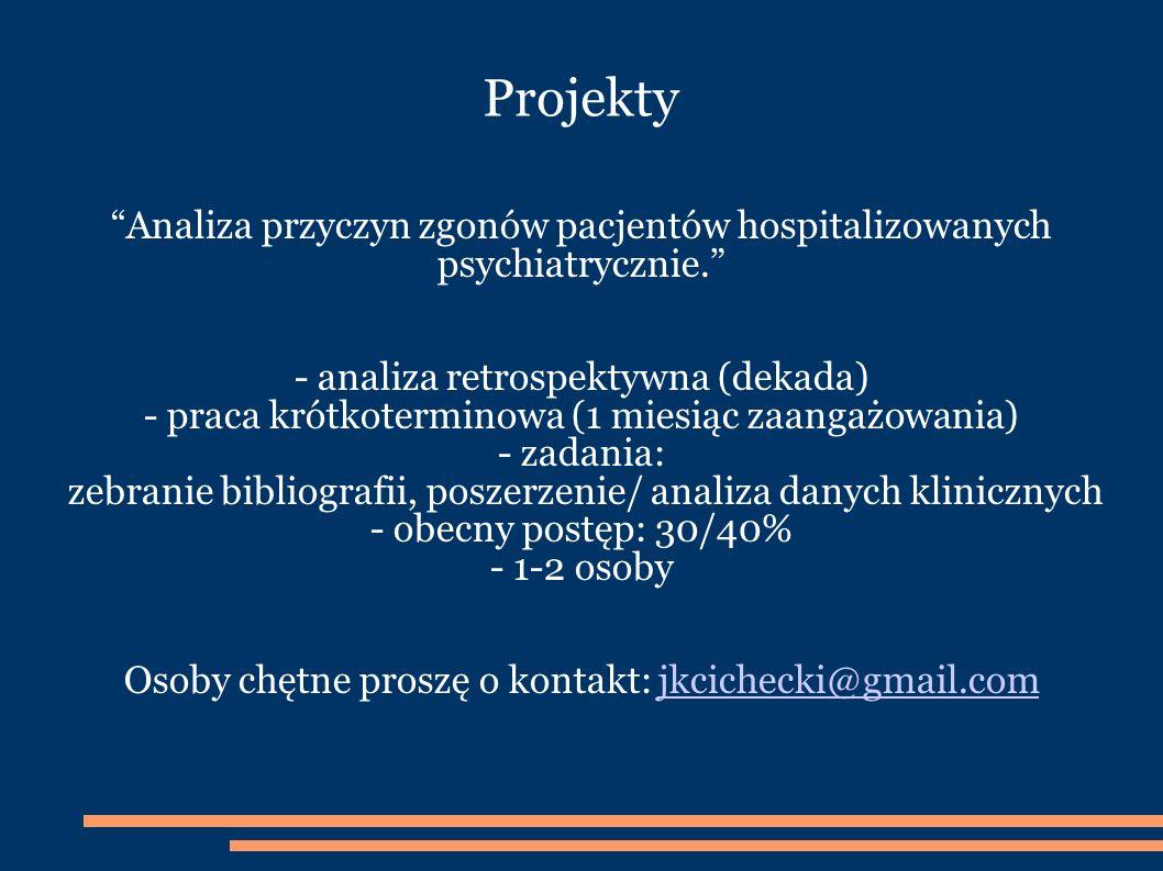 Projekty Analiza przyczyn zgonów pacjentów hospitalizowanych psychiatrycznie. - analiza retrospektywna (dekada)