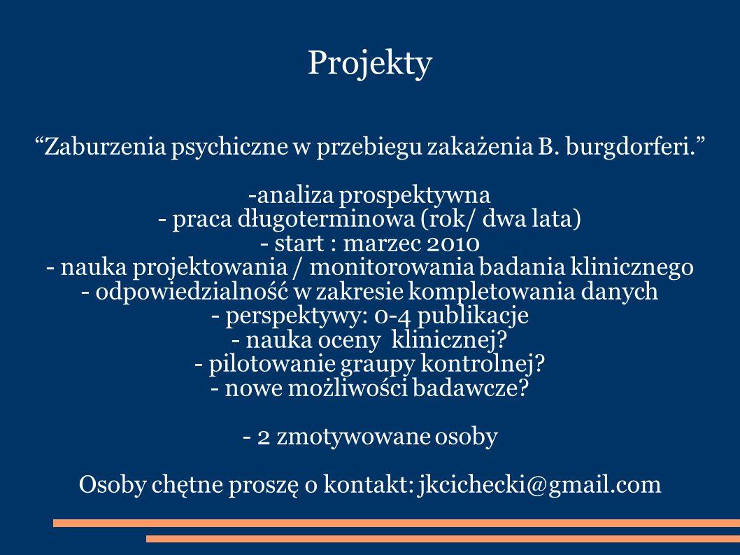 Projekty Zaburzenia psychiczne w przebiegu zakażenia B. burgdorferi.