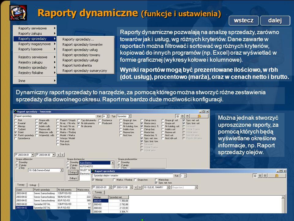 Raporty dynamiczne (funkcje i ustawienia)