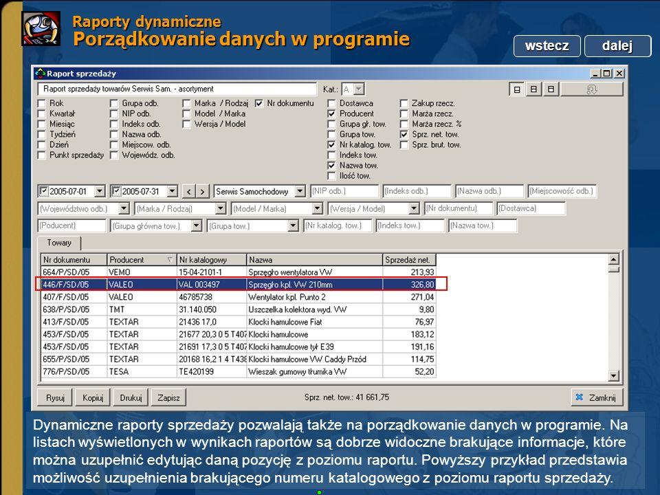 Raporty dynamiczne Porządkowanie danych w programie