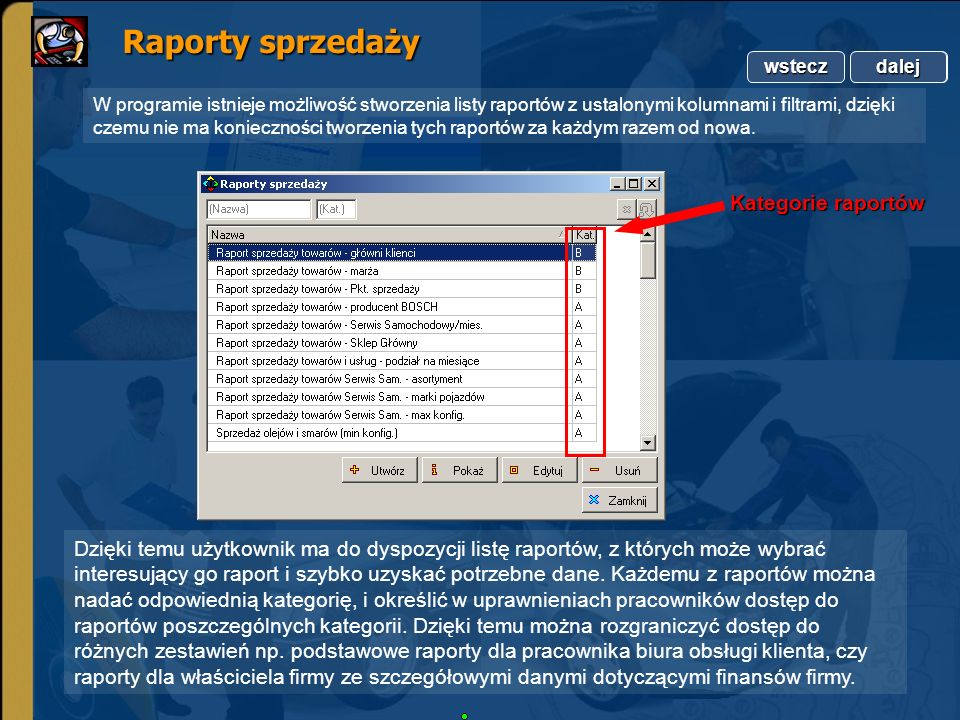 Raporty sprzedaży Kategorie raportów