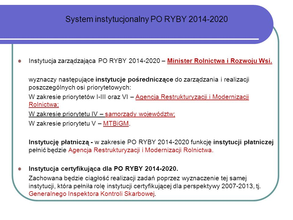 System instytucjonalny PO RYBY 2014-2020
