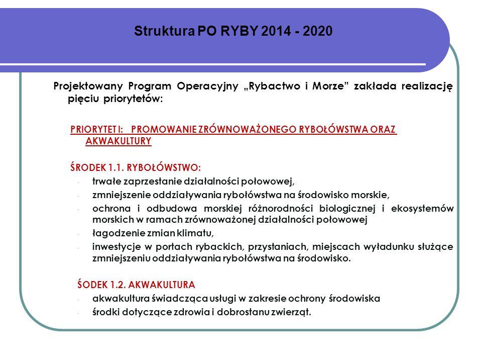 """Struktura PO RYBY 2014 - 2020Projektowany Program Operacyjny """"Rybactwo i Morze zakłada realizację pięciu priorytetów:"""