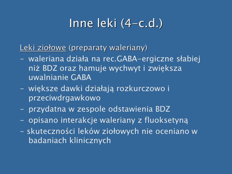 Inne leki (4-c.d.) Leki ziołowe (preparaty waleriany)
