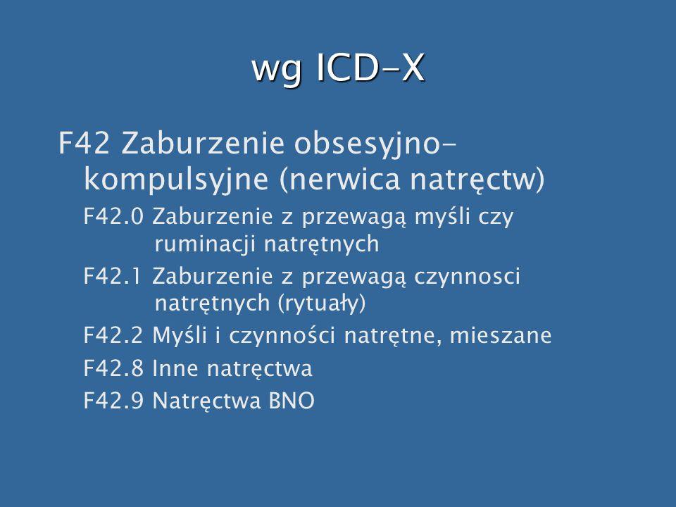 wg ICD-X F42 Zaburzenie obsesyjno-kompulsyjne (nerwica natręctw)