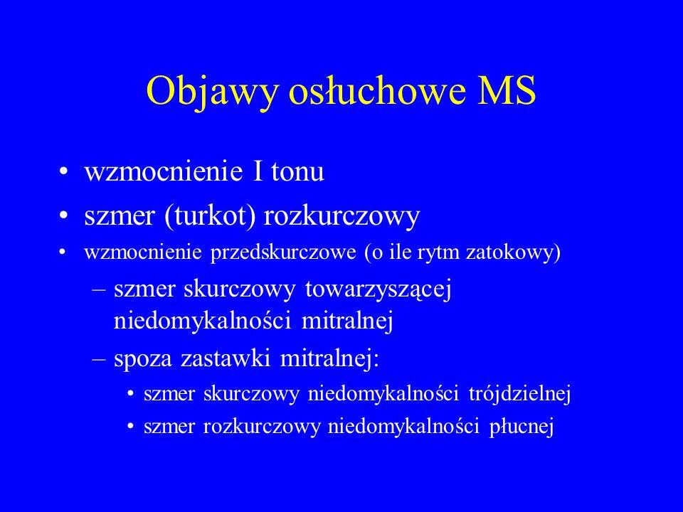 Objawy osłuchowe MS wzmocnienie I tonu szmer (turkot) rozkurczowy
