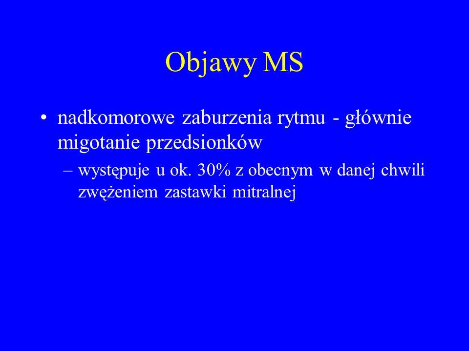 Objawy MS nadkomorowe zaburzenia rytmu - głównie migotanie przedsionków.