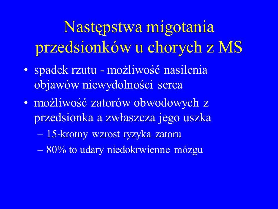 Następstwa migotania przedsionków u chorych z MS