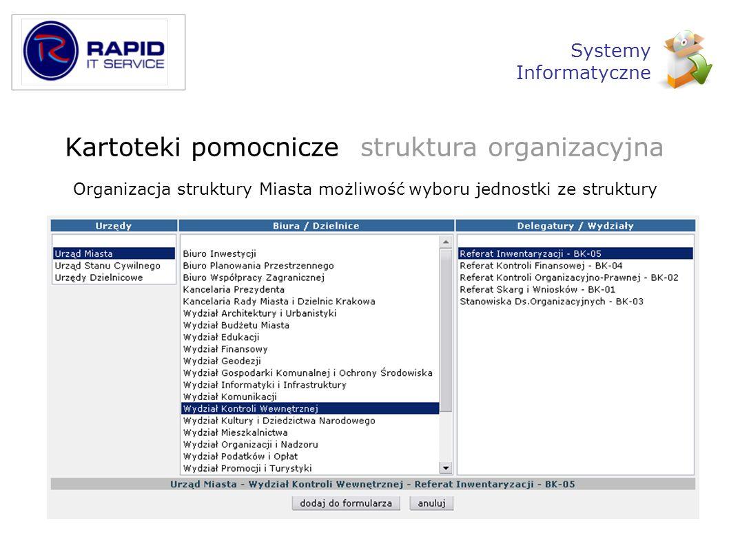 Kartoteki pomocnicze struktura organizacyjna