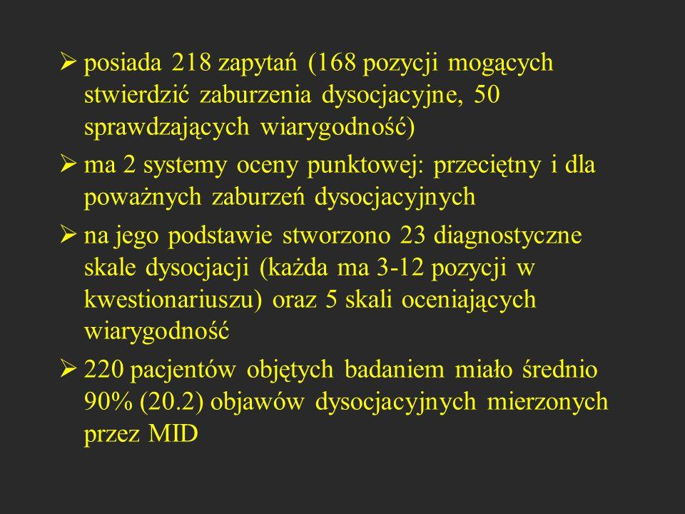 posiada 218 zapytań (168 pozycji mogących stwierdzić zaburzenia dysocjacyjne, 50 sprawdzających wiarygodność)