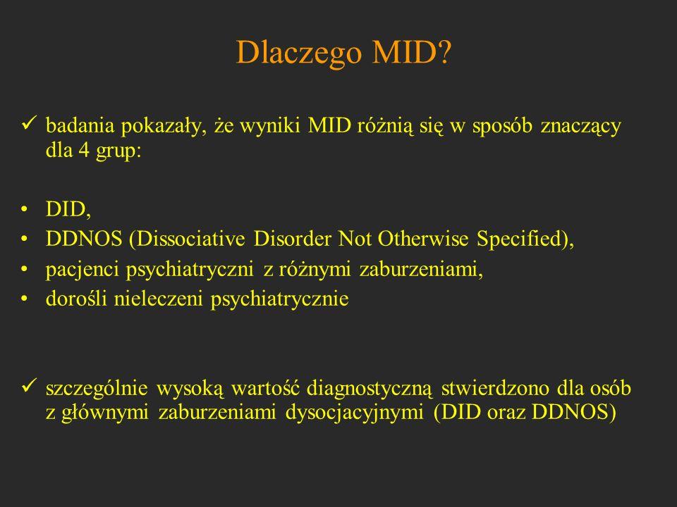 Dlaczego MID badania pokazały, że wyniki MID różnią się w sposób znaczący dla 4 grup: DID, DDNOS (Dissociative Disorder Not Otherwise Specified),