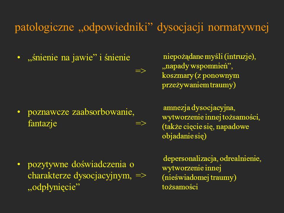 """patologiczne """"odpowiedniki dysocjacji normatywnej"""