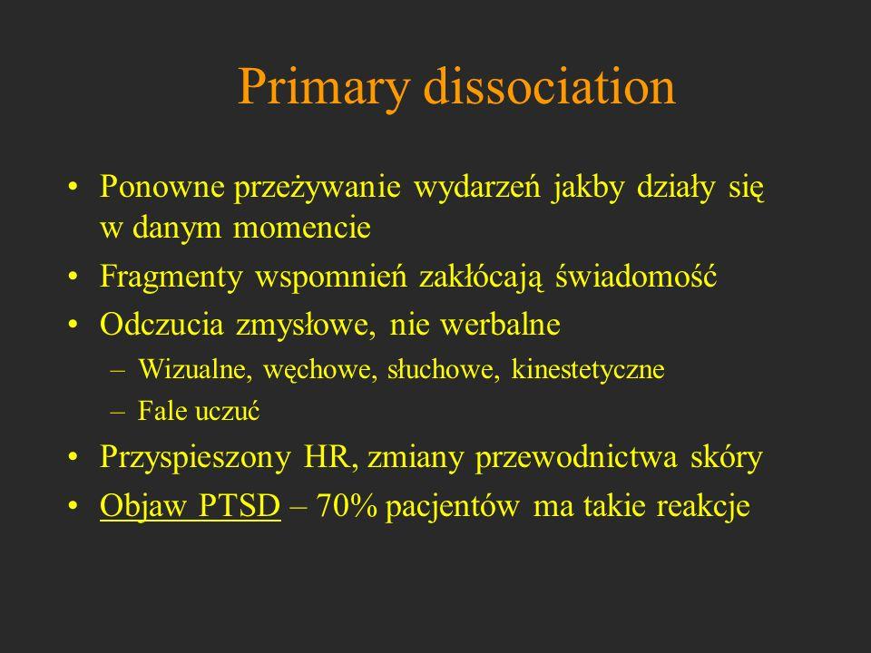 Primary dissociationPonowne przeżywanie wydarzeń jakby działy się w danym momencie. Fragmenty wspomnień zakłócają świadomość.
