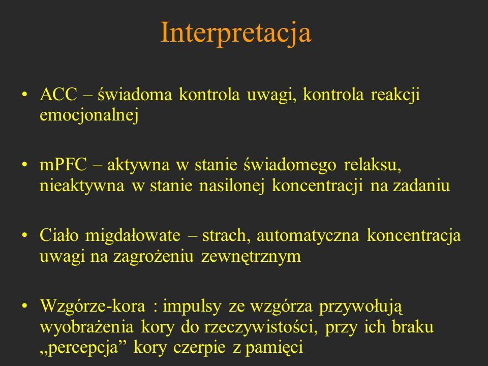 Interpretacja ACC – świadoma kontrola uwagi, kontrola reakcji emocjonalnej.