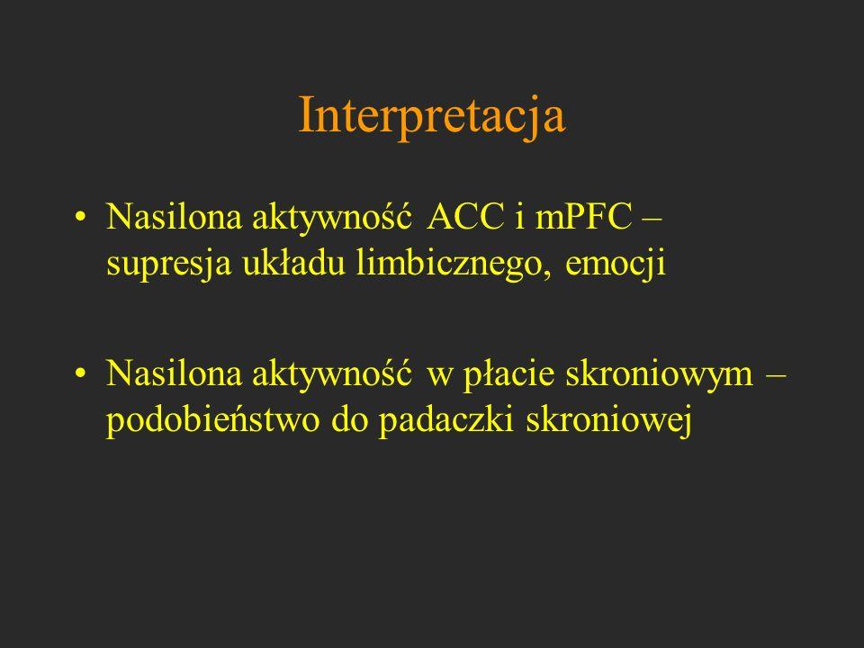 InterpretacjaNasilona aktywność ACC i mPFC – supresja układu limbicznego, emocji.