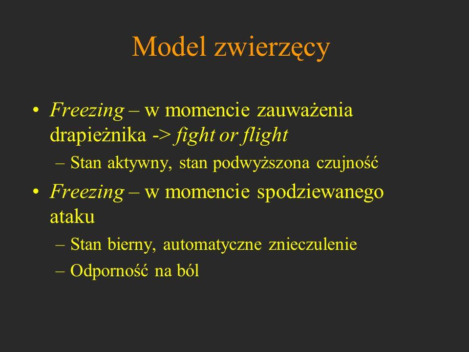 Model zwierzęcyFreezing – w momencie zauważenia drapieżnika -> fight or flight. Stan aktywny, stan podwyższona czujność.