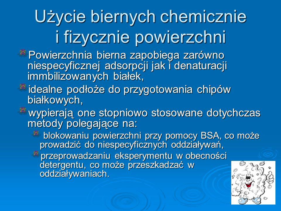 Użycie biernych chemicznie i fizycznie powierzchni
