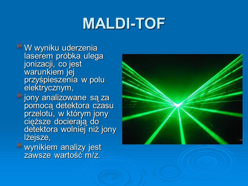 MALDI-TOF W wyniku uderzenia laserem próbka ulega jonizacji, co jest warunkiem jej przyśpieszenia w polu elektrycznym,