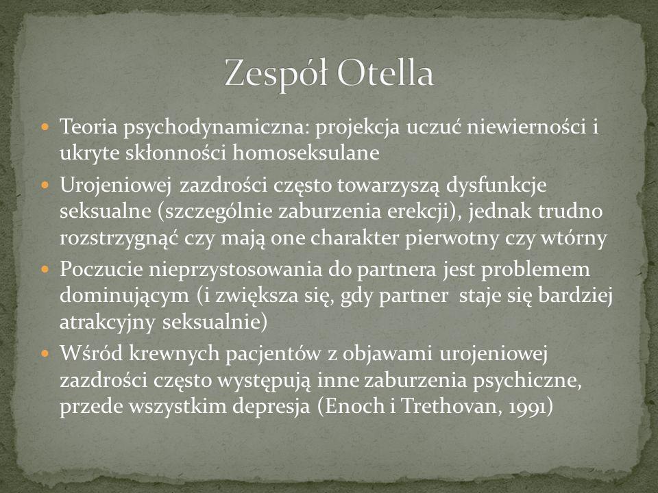 Zespół OtellaTeoria psychodynamiczna: projekcja uczuć niewierności i ukryte skłonności homoseksulane.
