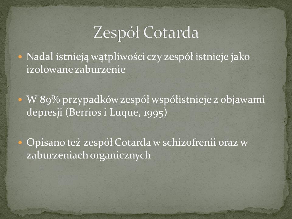 Zespół CotardaNadal istnieją wątpliwości czy zespół istnieje jako izolowane zaburzenie.