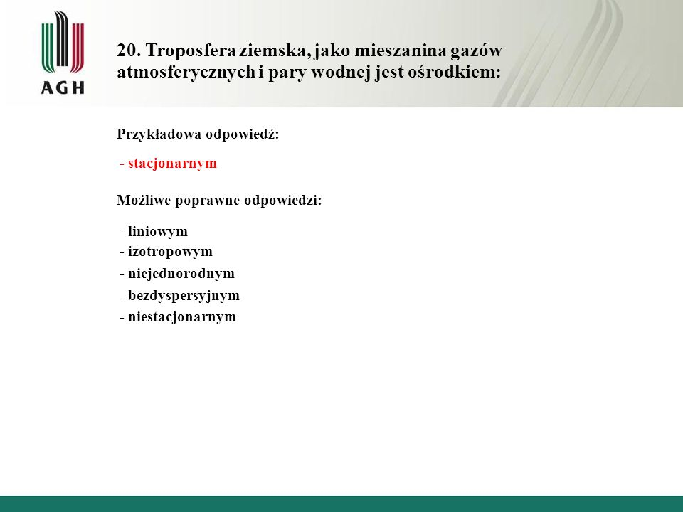 20. Troposfera ziemska, jako mieszanina gazów