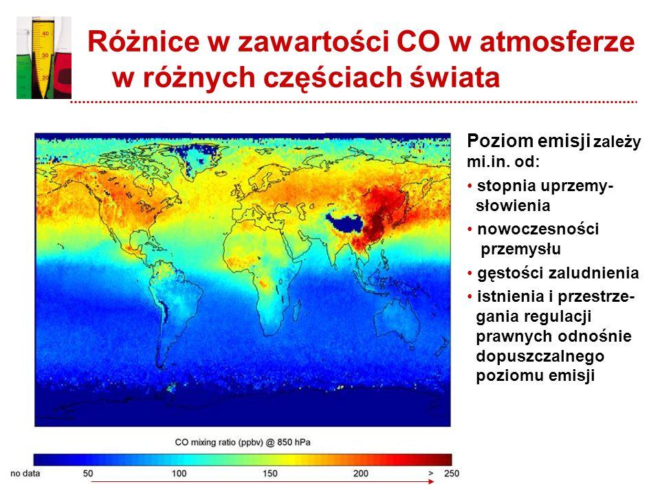 Różnice w zawartości CO w atmosferze w różnych częściach świata