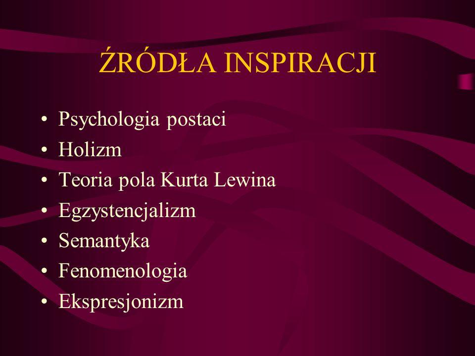 ŹRÓDŁA INSPIRACJI Psychologia postaci Holizm Teoria pola Kurta Lewina