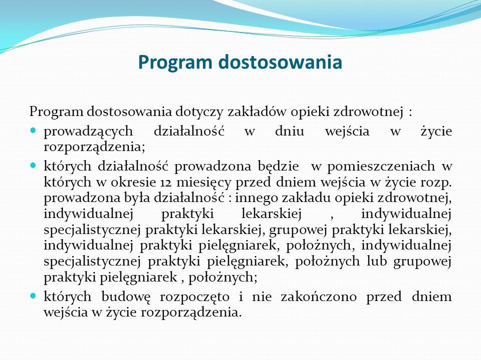 Program dostosowania Program dostosowania dotyczy zakładów opieki zdrowotnej : prowadzących działalność w dniu wejścia w życie rozporządzenia;