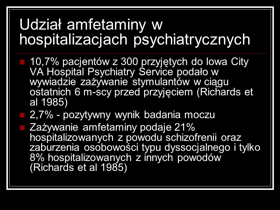 Udział amfetaminy w hospitalizacjach psychiatrycznych