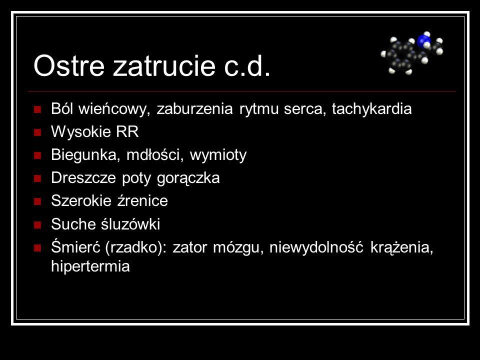 Ostre zatrucie c.d. Ból wieńcowy, zaburzenia rytmu serca, tachykardia