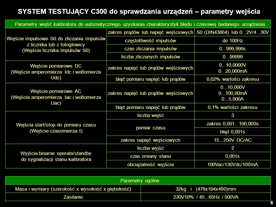 SYSTEM TESTUJĄCY C300 do sprawdzania urządzeń – parametry wejścia