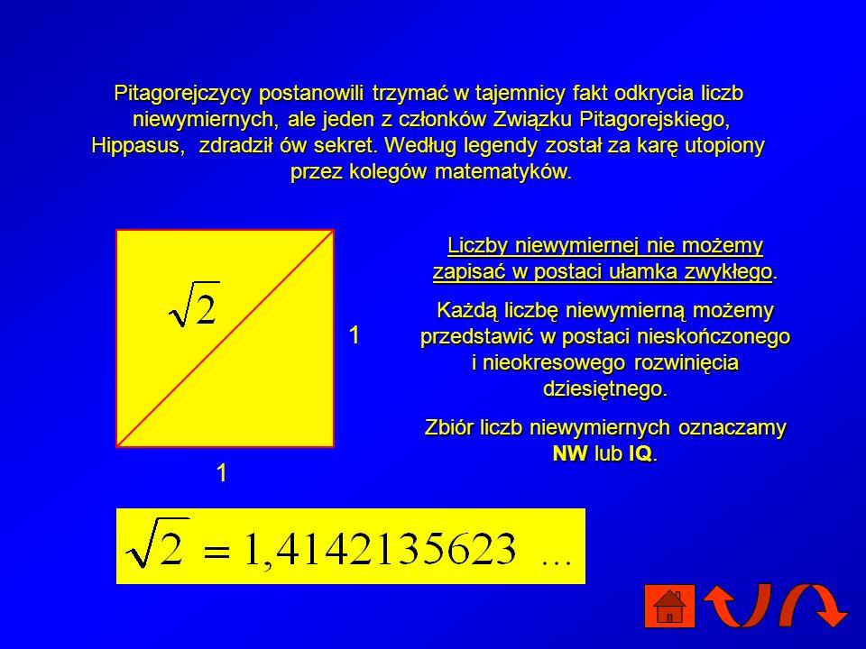 Pitagorejczycy postanowili trzymać w tajemnicy fakt odkrycia liczb niewymiernych, ale jeden z członków Związku Pitagorejskiego, Hippasus, zdradził ów sekret. Według legendy został za karę utopiony