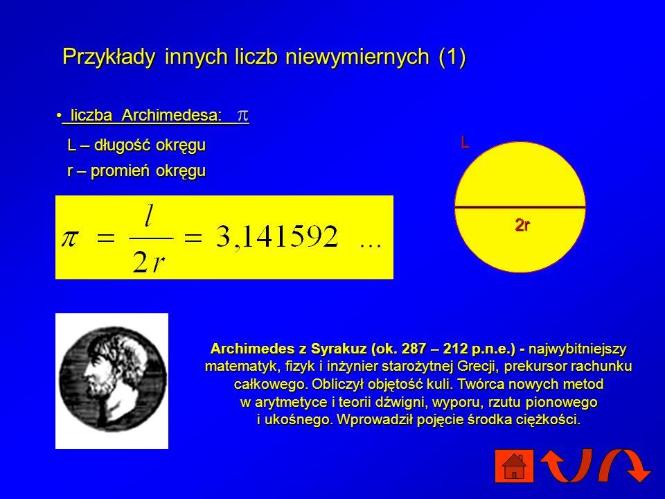 Przykłady innych liczb niewymiernych (1)