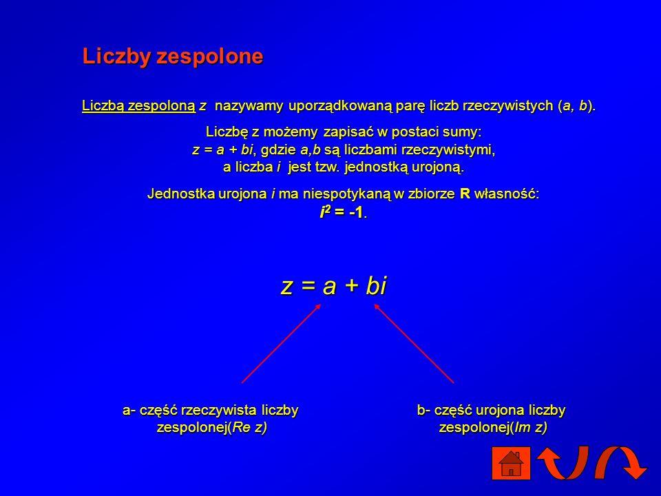 z = a + bi Liczby zespolone